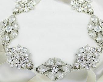 Ribbon Headband, Bridal hairpiece, wedding hair accessory, Silver crystal, Vintage style, Bridal Wedding, headpiece for bride, Hair jewelry