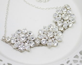 Crystal Necklace, Wedding jewelry, Silver statement Necklace, Bridal Necklace, Bridal Jewelry, Wedding necklace for Bride, Flower necklace