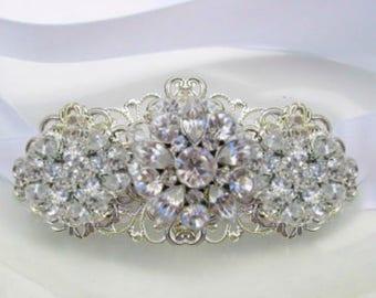 Crystal Bracelet, Wedding Jewelry, Ribbon Bracelet, Bridal Bracelet, Crystal Silver Cuff,  Wedding bracelet, Crystal Jewelry