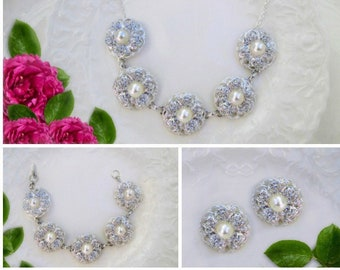 Bridal Jewelry set, Pearl wedding jewelry, Bridal Necklace, Matching Earrings, Bridal bracelet, Wedding jewelry set, Camellia Collection