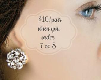 Set of 7, Set of 8, Bridesmaid Earrings Silver  Stud Earrings, Bridesmaid Gift, Bridesmaids Jewelry, Post Earrings, crystal studs