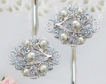 Wedding Hair pins, Bridesmaid Hair Clip, Ivory Pearl hair Pin, pearl bobby pins,  Bridal accessories, Ivy Rose