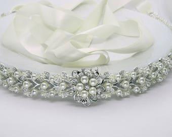 All the way around, wedding Belt, pearl bridal sash,  crystal  pearl, wedding dress belt,  Long Bridal  sash belt, Bridal Belt, wedding sash