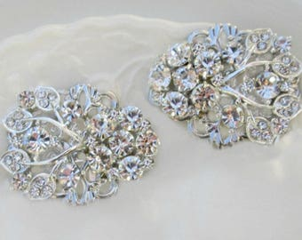 Wedding shoe clips Silver Crystal Shoe Clips for Bridal shoes, Bridal accessory, Vintage Style Wedding Accessories, Crystal Ivy collection