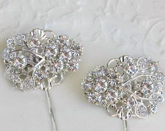 Crystal Wedding Hair Clip bridal Bobby Pin bridesmaid Hair Pin silver Bobby Pin Hair flower Clip Wedding Hair Accessory