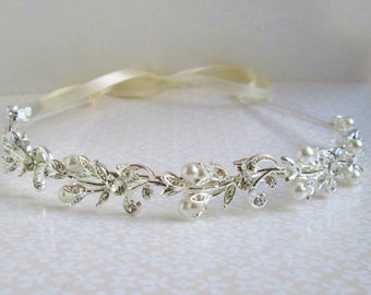 Wedding Headband, Silver and pearl, hair vine, Bridal Hair Accessories, crystal Tiara, ivory pearl white pearls, Bridal Headband, HairPiece