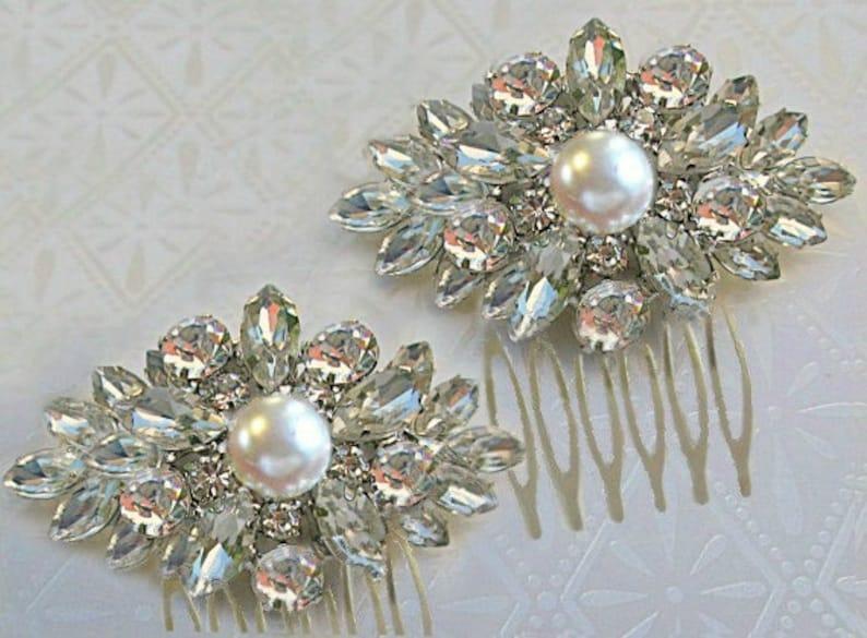 Bridal Hair Accessories,Bridesmaids hair clip,Small hair clip,Crystal Comb Clip Wedding Hair Clips,Ivory Pearl Bridal Comb,Small Hair clips