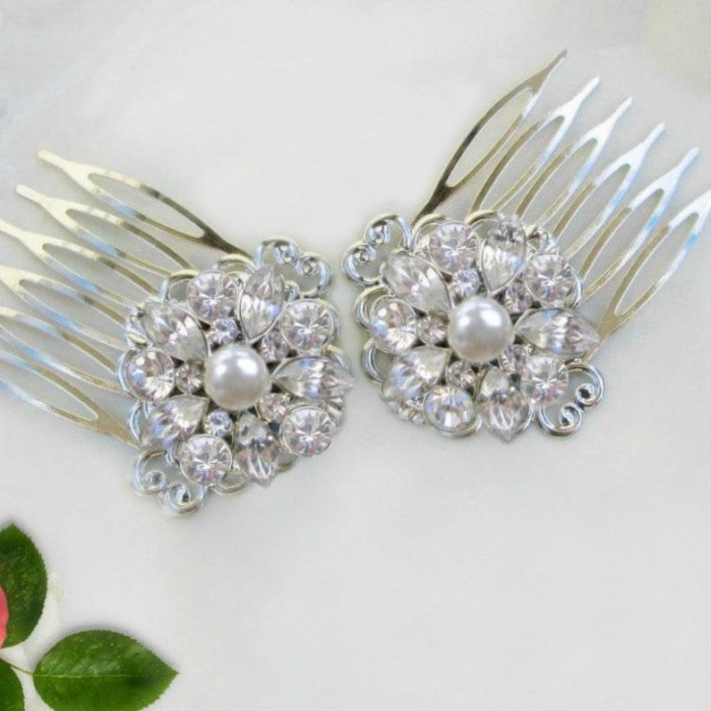 35e7d9116a4b1 Small Bridal Comb Set, Pearl hair clip, Wedding Hair Comb, Decorative Comb,  crystal Pearl, Wedding Hair Clip, Set of 2, Tea Rose Collection
