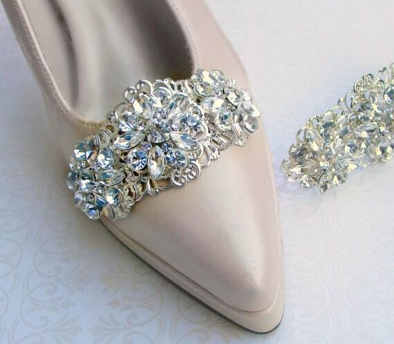 Clip Per Scarpe Da Sposa.Grande Scarpa Clip Per Scarpe Da Sposa Argento E Cristallo Etsy