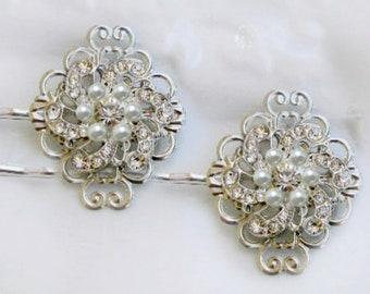 2 Bridal Hair pins wedding hair clips Bridal bobby Pin Wedding hair pins Pearl Hair pins silver hair clips