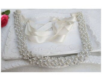 crystal pearl belt Bridal dress sash All the way around  pearl wedding belt pearl bridal belt pearl ivy pearl silver belt pearl wedding sash