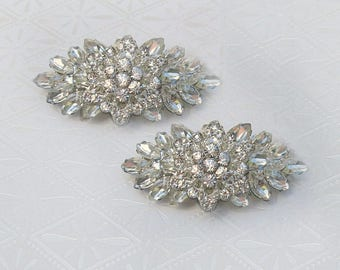 Silver Shoe Clips Bridal shoe clips wedding, Vintage Style, Crystal Shoe Clips, wedding shoe bling bridal shoe jewelry, rhinestone clips