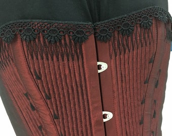 Choose your size & colour- Victorian inspired corded overbust with black flossing accents