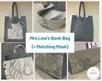 Book Bag with Matching Face Mask (reversible)