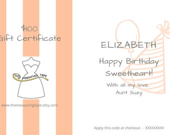 Customisable Gift Certificate - Choose your own amount.