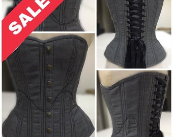 Sample Sale - Grey Denim Corset with Black Thread Accents and Faux Button Studs