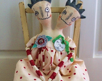 ToiL and TroUBLe FoLk Art Primitive DOLL