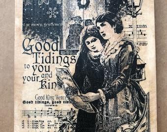 Inkadinkado Wood Block Rubber Mounted Stamp Victorian Christmas Caroling Silent Night Good Tidings God Rest Yea Good King Wencelas