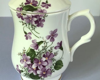 Fine English China  Staffordshire Violets mug with lid Made in England