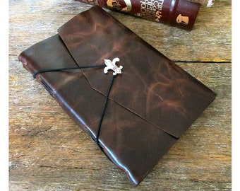Leather Journal / Sketchbook / Wedding Guestbook . large 9x6 . Handmade Handbound . dark brown with fleur de lis (320pgs)