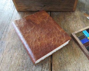 """Watercolor Leather Sketchbook Pocket Tome 6"""" x 4.5"""" portrait. russet brown leather . Canson XL multi-media watercolour paper"""