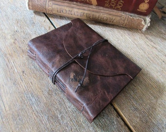 """Leather Journal - """"Not being heard is no excuse for silence"""" -Victor Hugo, Les Miserables . handbound . distressed dark brown  (320pgs)"""