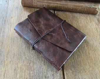 """Leather Journal . """"Do not go where the path may lead"""" - Ralph Waldo Emerson quote . handmade handbound . dark distressed brown (320 pgs)"""