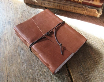 """Leather Journal . """"Going to the woods is going home"""" - John Muir . Nature. Outdoors . handbound . warm tan (320 pgs)"""