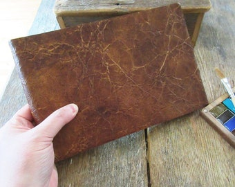 """Watercolor Leather Sketchbook Large Tome 6"""" x 9"""" landscape . russet brown leather . Canson XL multi-media watercolour paper"""