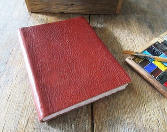 """Watercolor Leather Sketchbook Large Tome 7"""" x 5.5"""" portrait . cognac leather . Saunders Waterford hotpress (100% cotton watercolour paper)"""