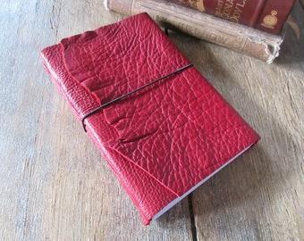 Leather Journal / Sketchbook / Wedding Guestbook . large 9x6 . Handmade Handbound . rich dark red (320pgs)
