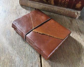 "Leather Journal . Mark Twain quote: ""Explore. Dream. Discover."" handmade handbound . rich cognac (320 pgs)"