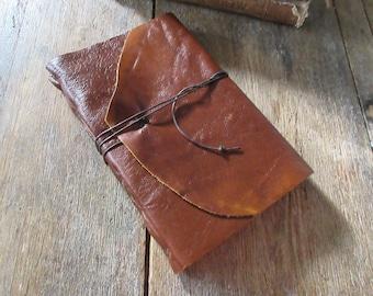 Leather Journal / Sketchbook / Wedding Guestbook . large 9x6 . Handmade Handbound . rich cognac (320pgs)