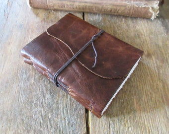 """Leather Journal . """"Fill your paper with the breathings of your heart"""" -William Wordsworth . distressed dark brown . handbound (320pgs)"""