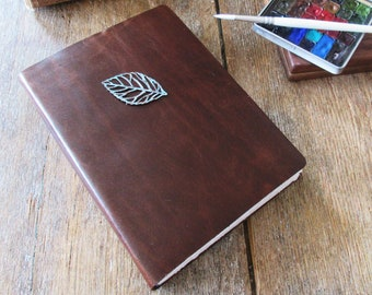 Perpetual Nature Journal Watercolor Sketchbook 8x6 A5 portrait . dark brown leather . hotpress Fabriano Artistico 100%cotton  (52pg spreads)