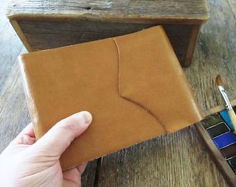 "Watercolor Leather Sketchbook Pocket Tome 4.5"" x 6"" landscape . golden tan leather . Canson XL multi-media watercolour paper"