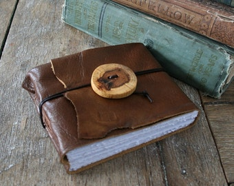 Leather Journal / Sketchbook / Guestbook . Rustic, Small & Chunky . handmade handbound . copper brown with wooden button (320 pgs)