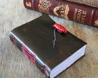 """Leather Journal . Bede quote: """"I am my own secretary; I dictate, I compose, I copy all myself."""" handbound . dark brown (320 pgs)"""