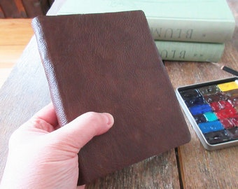 """Watercolor Leather Sketchbook Pocket Tome 6"""" x 4.5"""" portrait. dark brown leather . Canson XL multi-media watercolour paper"""
