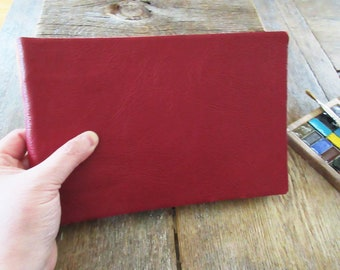 """Watercolor Leather Sketchbook Large Tome 6"""" x 9"""" landscape . red leather . Canson XL multi-media watercolour paper"""