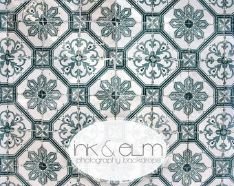 """Small Backdrop 3x2, Old Tile Photography Backdrop,  Social Media background, Food Styling Background, Product backdrop """"Florentine Tile"""""""