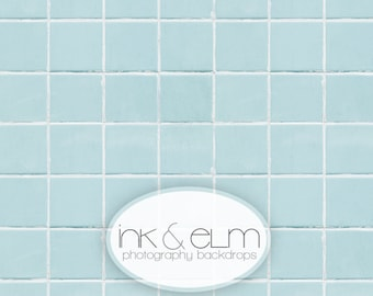 "Tile Backdrop 3ft x 3ft, Food Photography blue tile backdrop, Product Backdrop, flat lay social media backdrop ""Cloudy Blue Tile"""