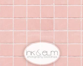 "Tile Backdrop 3ft x 3ft, Food Photography pink tile backdrop, Product Backdrop, flat lay social media backdrop ""Perfectly Pink Tile"""
