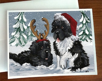 NEWFOUNDLAND DOG AND PUPPY CHARMING GREETINGS NOTE CARD