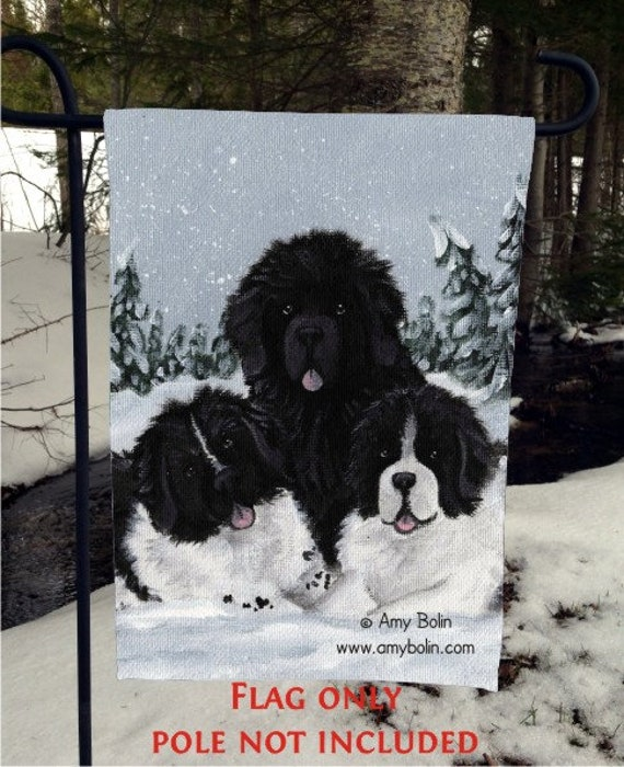 "GARDEN FLAG /""Dream/"" Black Newfoundland Dog by Amy Bolin"