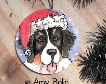 "Bernese Mountain Dog ""Santa"" double sided ceramic Christmas ornament by Amy Bolin"