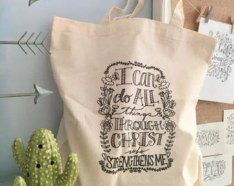 I Can Do all Things Through Christ Color Your Own Canvas Tote Bag