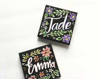 Personalized Calligraphy Brush Lettering Hand Lettered Mini Stretched Canvas Magnets 2.5 in x 2.5 in