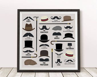 Mustache Types and Gentleman's Haberdashery Hipster Steampunk Neo Victorian Square Print