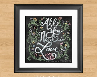 Chalkboard Lettering All You Need is Love Square Print